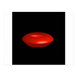 Red rendered 3d object postcard