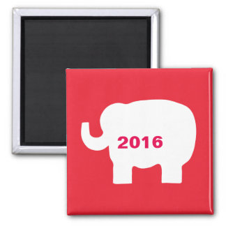 Red Republican GOP Elephant 2016 Elections Square Magnet