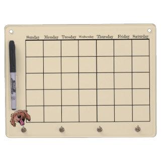 Red Retriever Calendar Dry Erase Board With Key Ring Holder