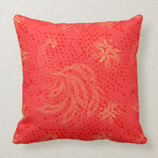 Red retro butterflies with pink halftones throw pillow