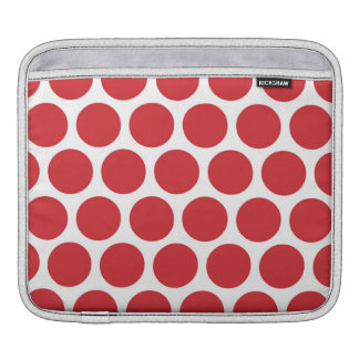 Red Retro Colorful Modern Polka Dots Sleeves For iPads