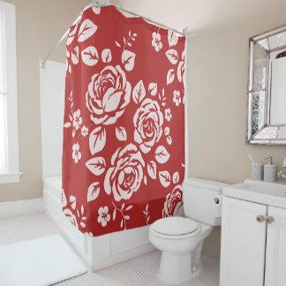 Red_Retro_Floral(c) Bathroom_ Shower Curtain