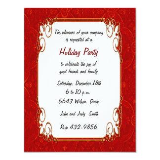 "Red Retro Holiday Invitation 4.25"" X 5.5"" Invitation Card"