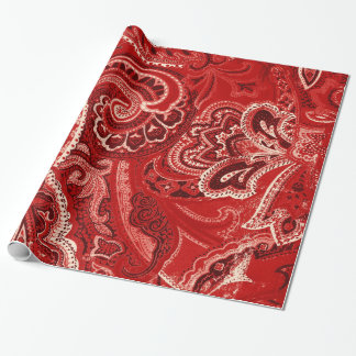 Red Retro Paisley Bandanna/Bandana Wrapping Paper