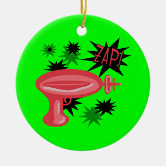 Red Retro Raygun Round Ceramic Decoration