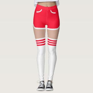 Red Retro Shorts OTK Tube Socks Leggings