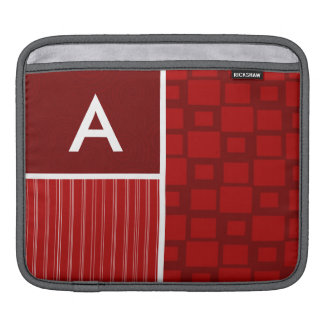 Red Retro Squares Sleeve For iPads