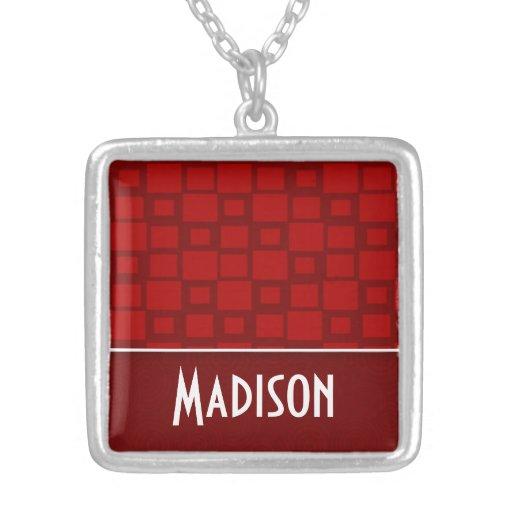 Red Retro Squares; Square Pattern Pendant