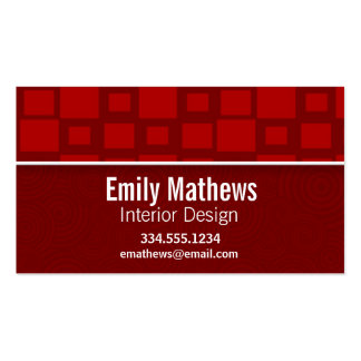 Red Retro Squares; Square Pattern Pack Of Standard Business Cards