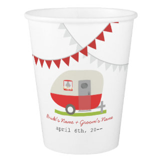 Red Retro Trailer Wedding Cups