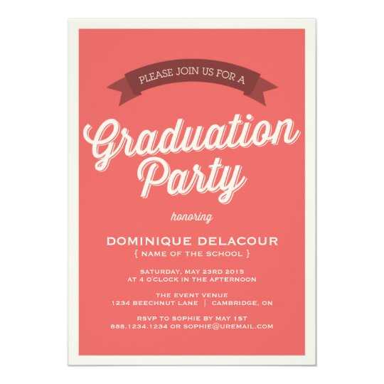 Red Retro Typography Graduation Party Card