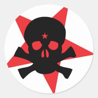 red revolution star skull round sticker