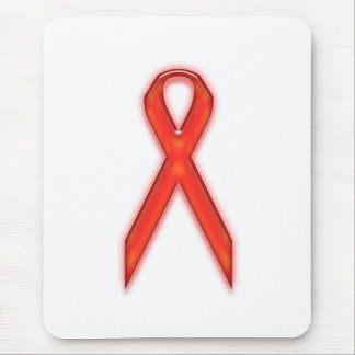 RED RIBBON AIDS AWARENESS MOUSE PAD