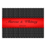 Red Ribbon And White Polka Dots Save The Date Card Invitations