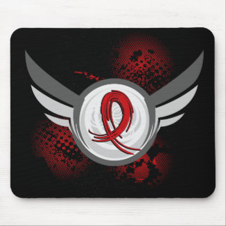 Red Ribbon And Wings Blood Cancer Mouse Pads