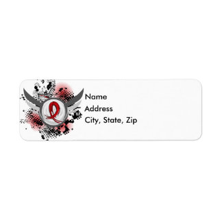 Red Ribbon And Wings Blood Cancer Return Address Label