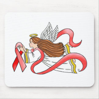 """""""Red Ribbon"""" Awareness Angel Mouse Pad"""