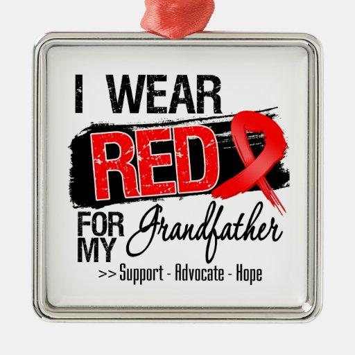 Red Ribbon Awareness - Grandfather Christmas Tree Ornaments