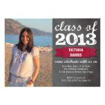 Red ribbon banner chalkboard photo graduation personalized invites