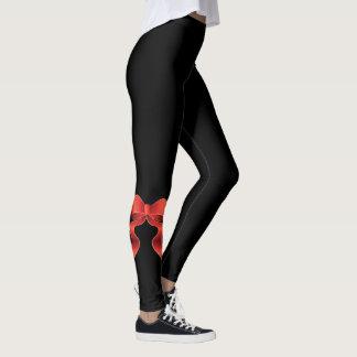 Red Ribbon Bow Leggings