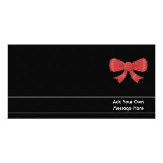 Red Ribbon Bow. On Black. Custom White Text Personalized Photo Card