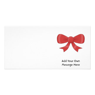Red Ribbon Bow. On White. Custom Text Photo Cards
