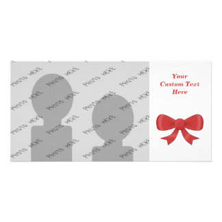 Red Ribbon Bow. On White. Photo Greeting Card