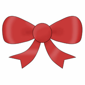 Red Ribbon Bow. On White. Photo Sculpture Badge
