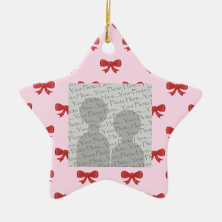 Red Ribbon Bow Pattern on Pink. Add Photo. Custom Christmas Ornament