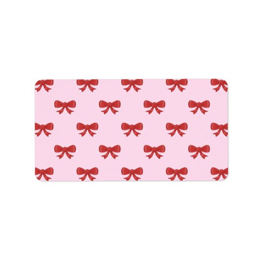 Red Ribbon Bow Pattern on Pink. Address Label