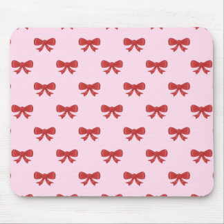 Red Ribbon Bow Pattern on Pink. Mouse Mat