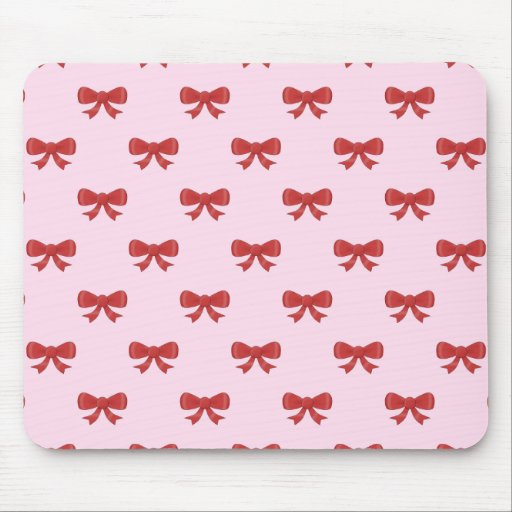 Red Ribbon Bow Pattern on Pink. Mousepad