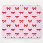 Red Ribbon Bow Pattern on Pink. Mousemat