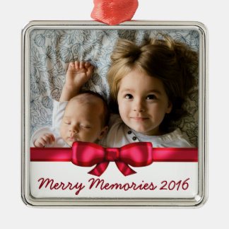 Red Ribbon Custom Name Family Photo Christmas Ornament