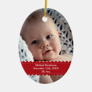 Red ribbon custom photo baby child birth statistic christmas ornament