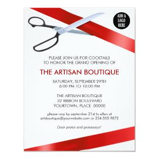 Red Ribbon Cutting Grand Opening 11 Cm X 14 Cm Invitation Card