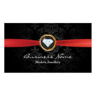 Red Ribbon Damask Modern Jewelry Business Card