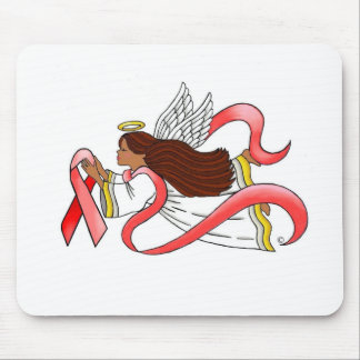 """Red Ribbon"" Ethnic Awareness Angel Mouse Pad"