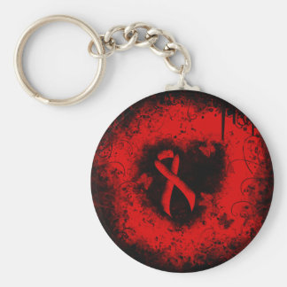 Red Ribbon Grunge Heart Basic Round Button Key Ring