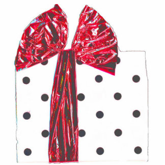 Red Ribbon Holiday Gift package Standing Photo Sculpture