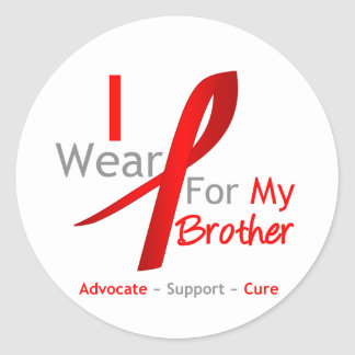 Red Ribbon I Wear Red For My Brother Round Sticker