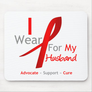 Red Ribbon I Wear Red For My Husband Mouse Pad
