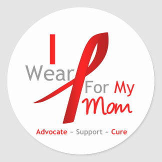 Red Ribbon I Wear Red For My Mom Stickers