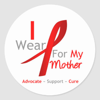 Red Ribbon I Wear Red For My Mother Round Sticker