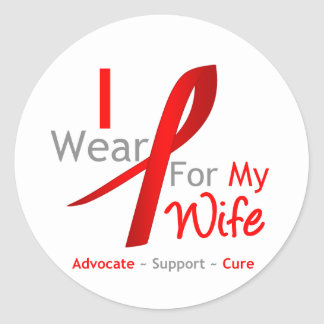Red Ribbon I Wear Red For My Wife Round Stickers