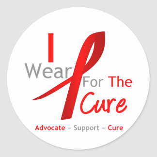 Red Ribbon I Wear Red For The Cure Round Sticker