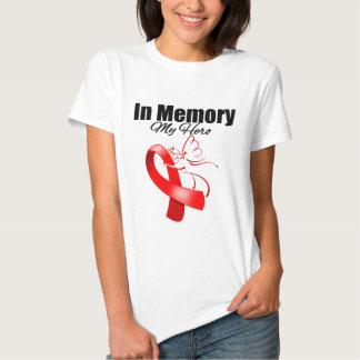 Red Ribbon In Memory of My Hero Tee Shirts