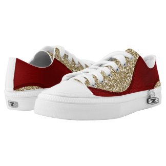 Red ribbon on golden background printed shoes
