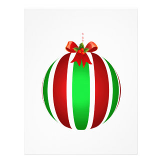 Red Ribbon on Ornament Striped Personalized Flyer