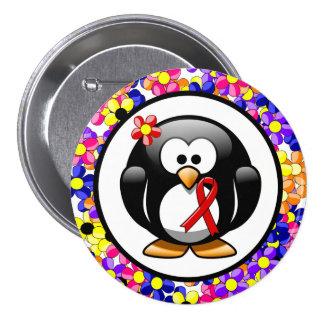 Red Ribbon Penguin 7.5 Cm Round Badge
